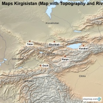 Maps Kirgisistan (Map with Topography and Rivers)