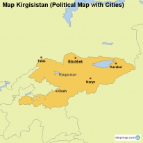 Map Kirgisistan (Political Map with Cities)