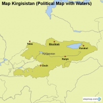Map Kirgisistan (Political Map with Waters)