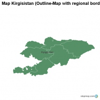 Map Kirgisistan (Outline-Map with regional borders)