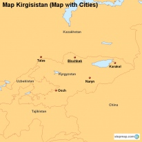 Map Kirgisistan (Map with Cities)