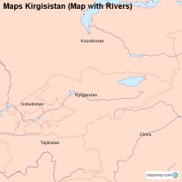 Maps Kirgisistan (Map with Rivers)