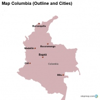Map Columbia (Outline and Cities)