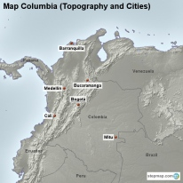 Map Columbia (Topography and Cities)