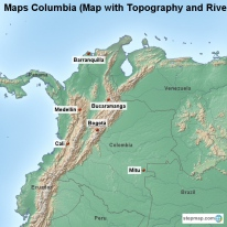 Maps Columbia (Map with Topography and Rivers)