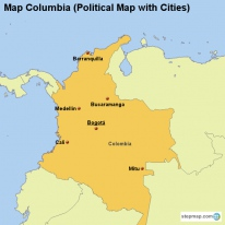 map columbia political map with cities