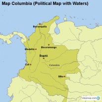 Map Columbia (Political Map with Waters)