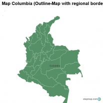 Map Columbia (Outline-Map with regional borders)