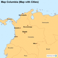 Map Columbia (Map with Cities)