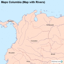 Maps Columbia (Map with Rivers)