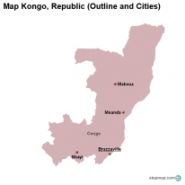 Map Kongo, Republic (Outline and Cities)