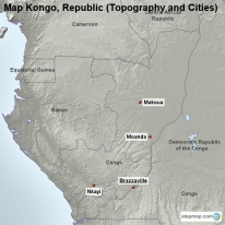 Map Kongo, Republic (Topography and Cities)