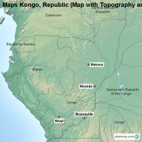 Maps Kongo, Republic (Map with Topography and Rivers)