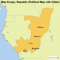 Map Kongo, Republic (Political Map with Cities)