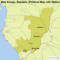 Map Kongo, Republic (Political Map with Waters)