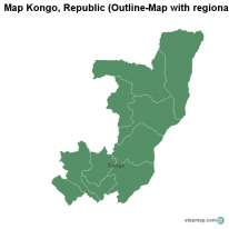 Map Kongo, Republic (Outline-Map with regional borders)