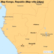 Map Kongo, Republic (Map with Cities)
