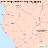 Maps Kongo, Republic (Map with Rivers)