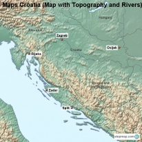 Maps Croatia (Map with Topography and Rivers)