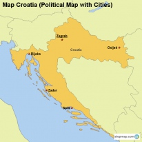 Map Croatia (Political Map with Cities)