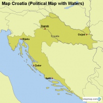Map Croatia (Political Map with Waters)