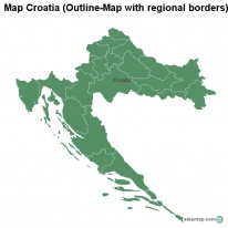 Map Croatia (Outline-Map with regional borders)
