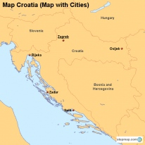Map Croatia (Map with Cities)