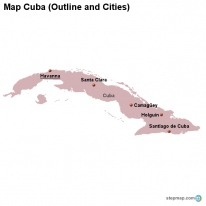 Map Cuba (Outline and Cities)