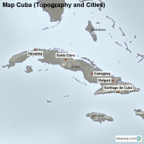Map Cuba (Topography and Cities)