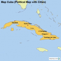 Map Cuba (Political Map with Cities)