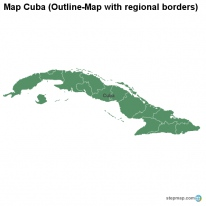 Map Cuba (Outline-Map with regional borders)