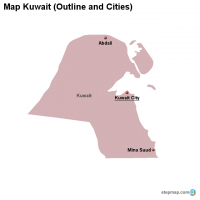 Map Kuwait (Outline and Cities)
