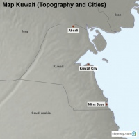 Map Kuwait (Topography and Cities)