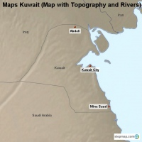 Maps Kuwait (Map with Topography and Rivers)