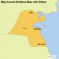 Map Kuwait (Political Map with Cities)