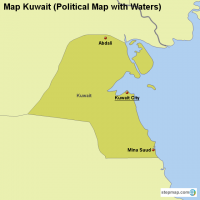 Map Kuwait (Political Map with Waters)