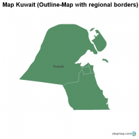 Map Kuwait (Outline-Map with regional borders)