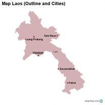 Map Laos (Outline and Cities)