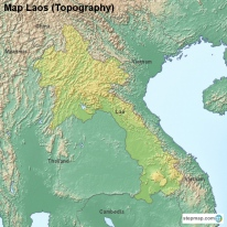 Map Laos (Topography)
