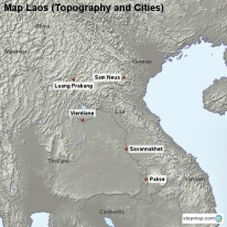 Map Laos (Topography and Cities)