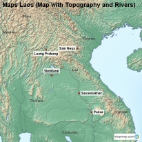 Maps Laos (Map with Topography and Rivers)