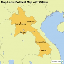 Map Laos (Political Map with Cities)