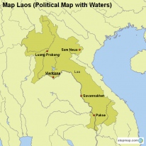 Map Laos (Political Map with Waters)