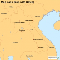 Map Laos (Map with Cities)