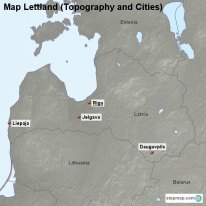 Map Lettland (Topography and Cities)