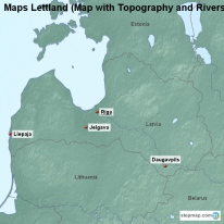 Maps Lettland (Map with Topography and Rivers)