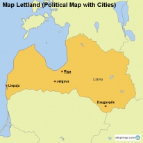 Map Lettland (Political Map with Cities)