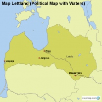 Map Lettland (Political Map with Waters)