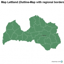 Map Lettland (Outline-Map with regional borders)