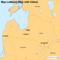 Map Lettland (Map with Cities)